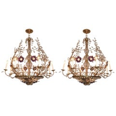 Pair of Large Gilt Chandeliers with Amethyst Flowers