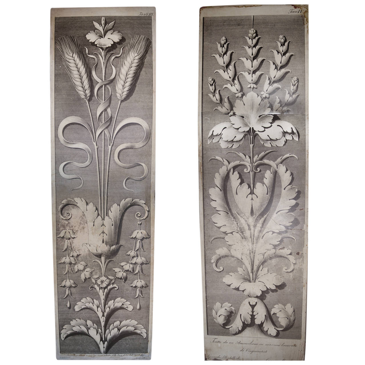 Pair of Large Architectural Drawing Wooden Panels