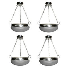 Set of Four Silver Plated Glass Light Fixtures, Sold Individually