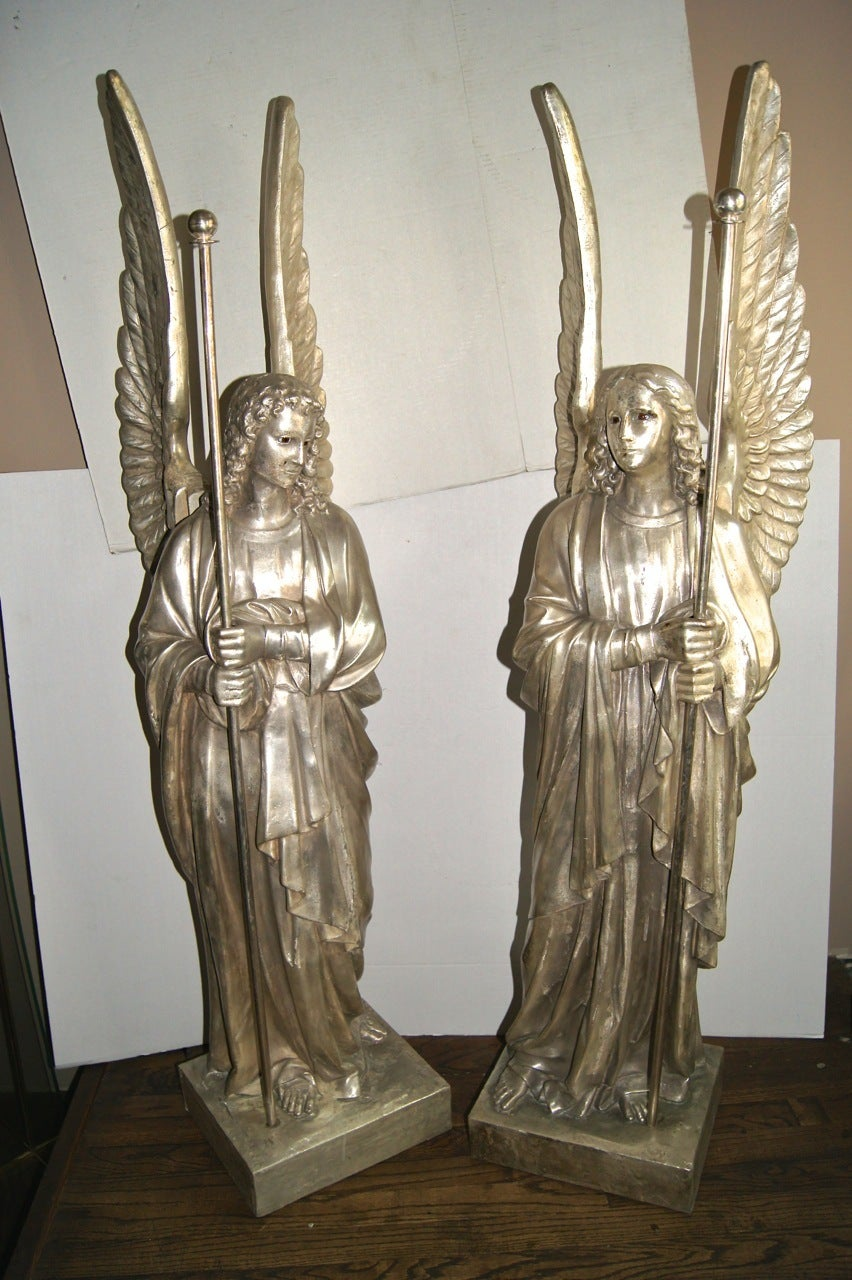Set of four large silver plated angel statues for sale at 1stdibs - Angels figurines for sale ...
