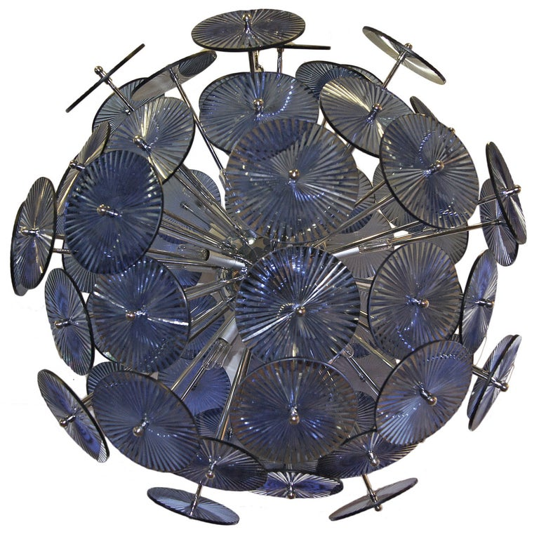 Blue Glass Sputnik Chandelier For Sale