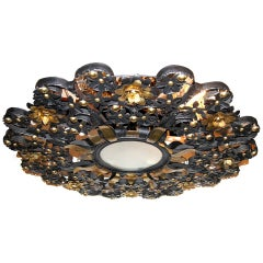 Large Tole and Brass Light Fixture