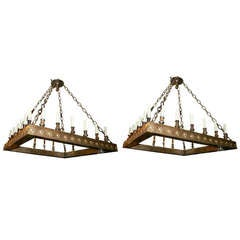 Pair of Large Square Chandeliers