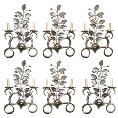 Set of Six Large Silver-Leafed Sconces. Sold per pair.