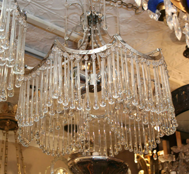 Pair of Glass Pendant Light Fixtures For Sale 1