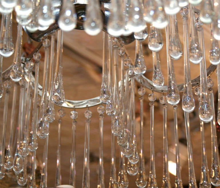 Pair of Glass Pendant Light Fixtures For Sale 2