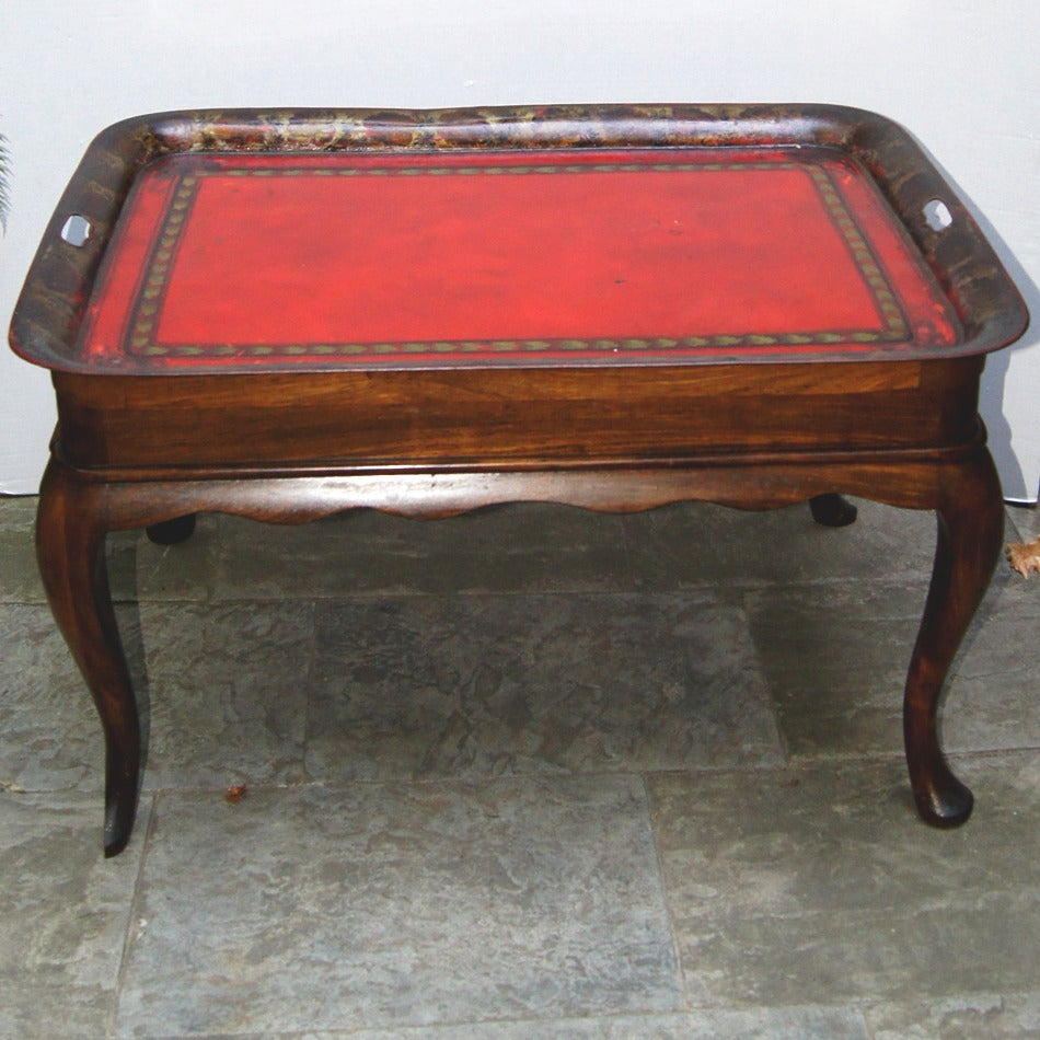 Tray Coffee Table Sale: Wooden Coffee Table With Tole Tray For Sale At 1stdibs