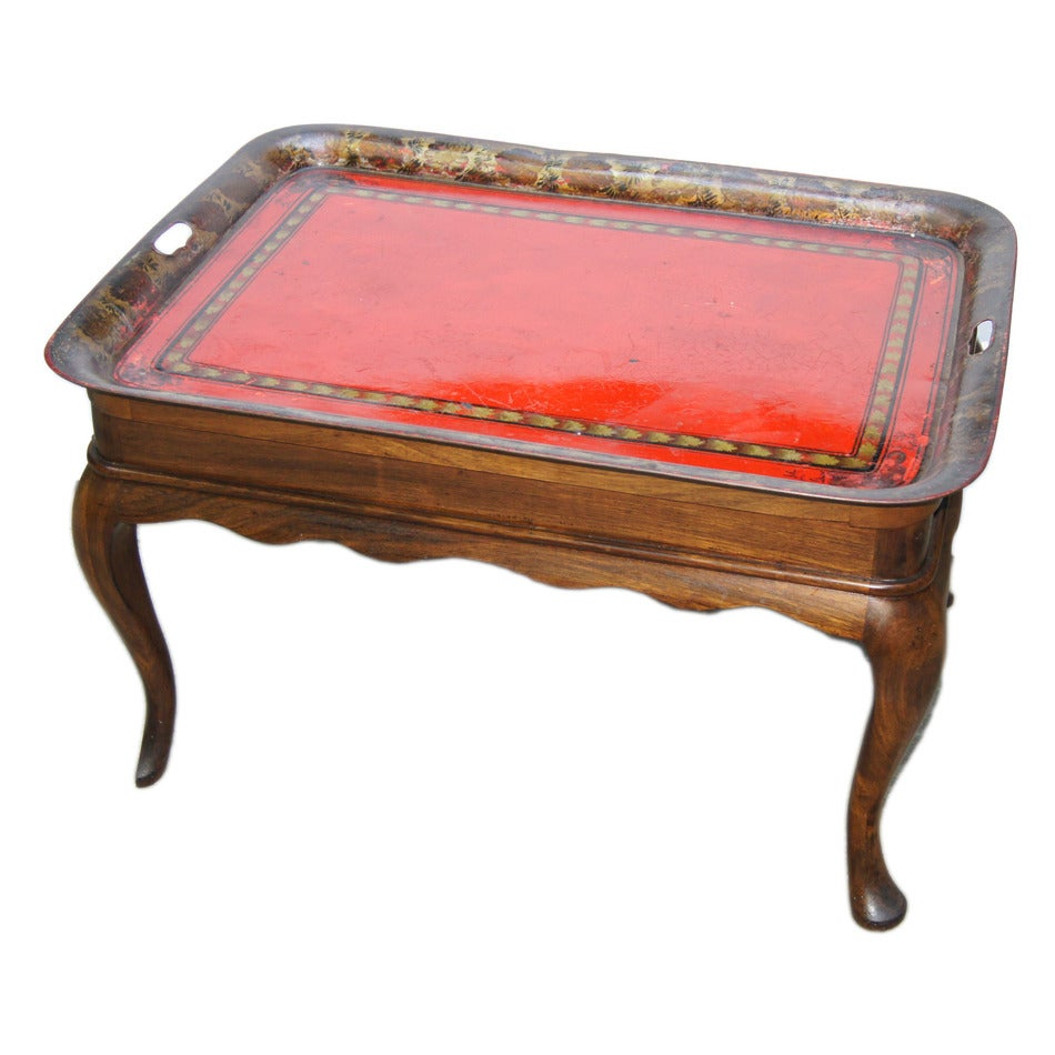 Wooden Coffee Table with Tole Tray