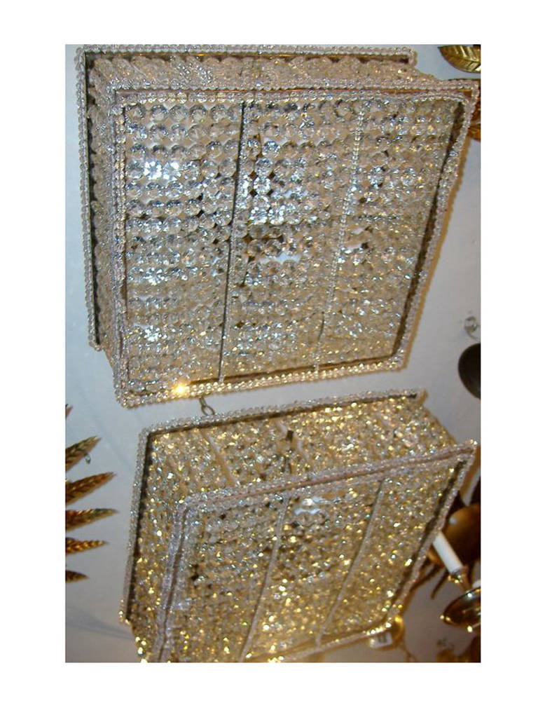 Pair Of Square Pendant Crystal Light Fixtures For Sale At