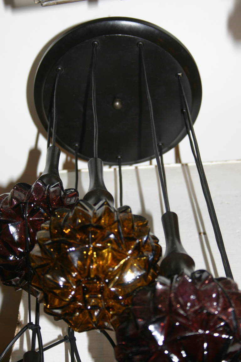 Large Moderne Pendant Glass Light Fixture For Sale At 1stdibs