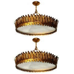 Pair of Large Gilt Metal Sunburst Light Fixtures