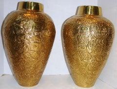 Gilt Repousse Metal Vases