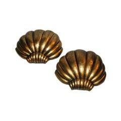 Large Shell Motif Gilt Sconces