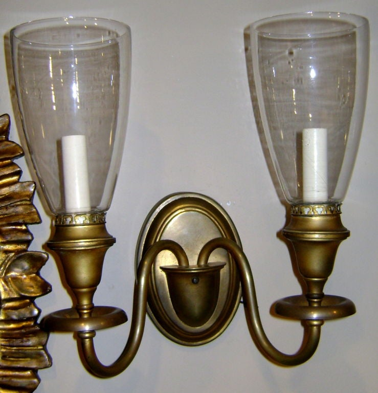 Wall Sconce With Hurricane Glass : Brass Sconces with Glass Hurricanes at 1stdibs