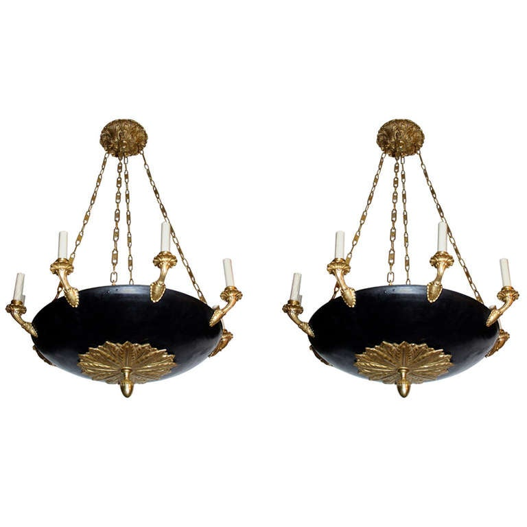 Pair of Large Empire Style Chandeliers