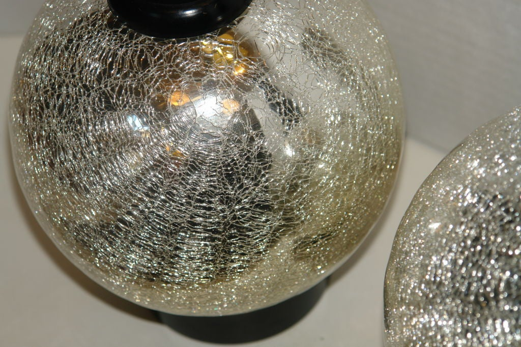 Round Crackled Mercury Glass Lamps For Sale At 1stdibs