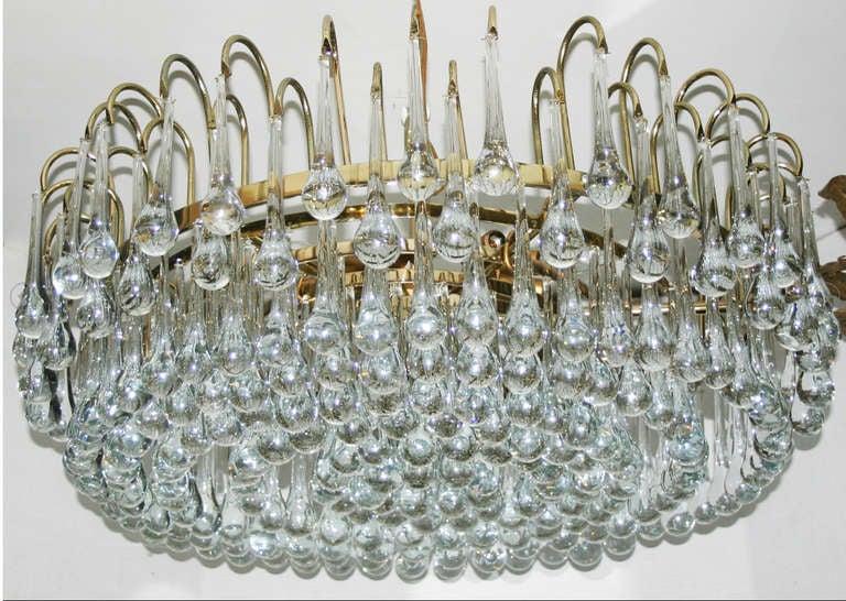 Modern Italian Gilt Light Fixture with Glass Drops