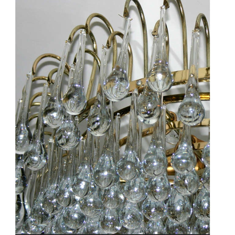 Mid-20th Century Italian Gilt Light Fixture with Glass Drops