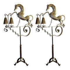 Silver Plated Horse Arts & Crafts Floor Lamps
