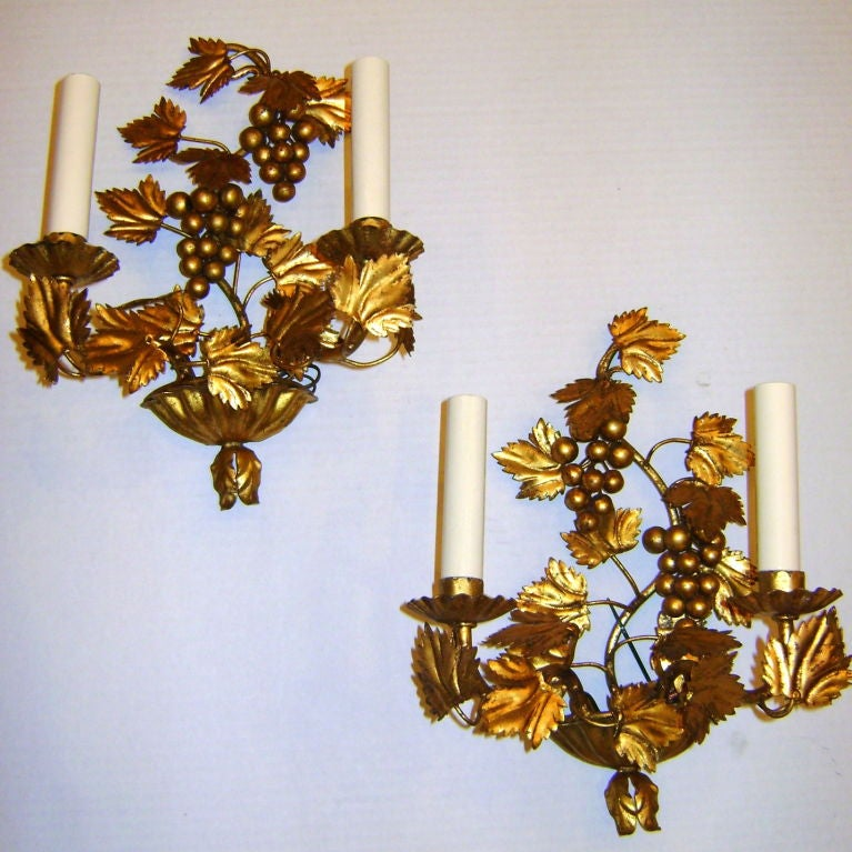 Wall Sconces With Grapes : Gilt Metal Grape Sconces at 1stdibs