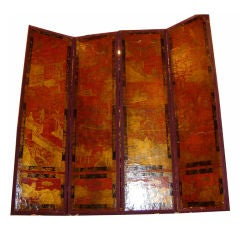 Painted Chinoiserie Leather Screen