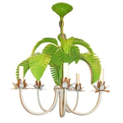 Pair of Tole Palm Tree Chandeliers, Sold Individually