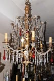 Gilt Chandelier with Red Crystals