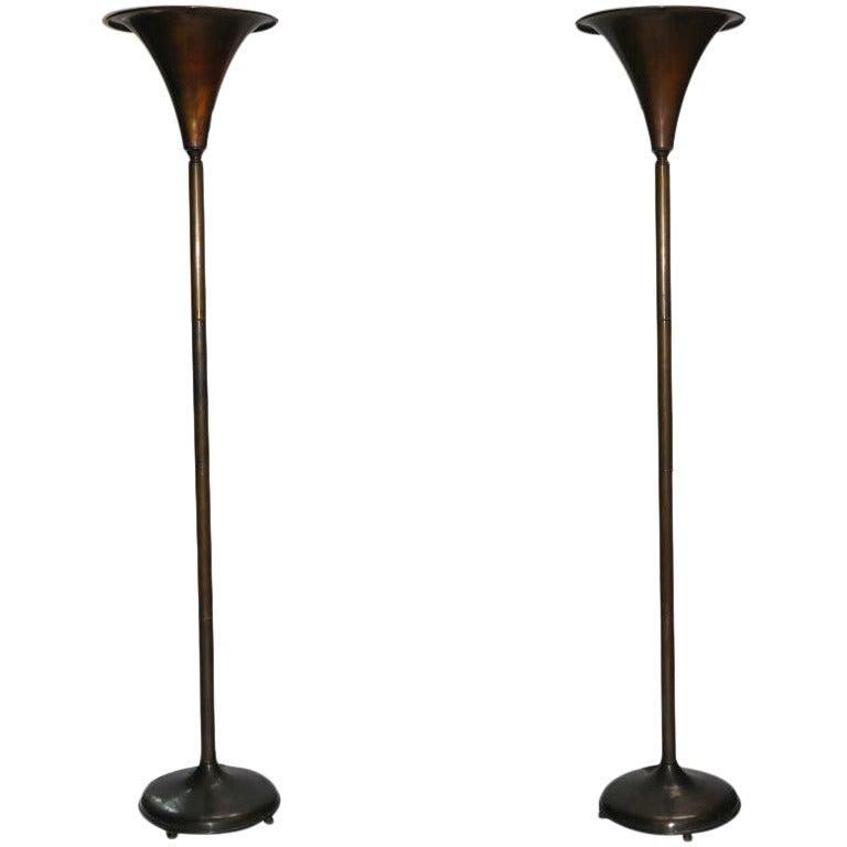 Pair of Bronze Torchiere Floor Lamps