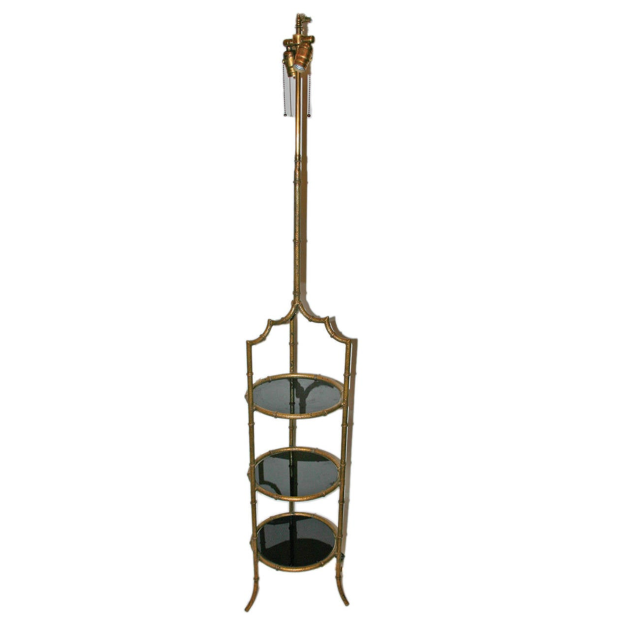 Gilt metal floor lamp with glass shelves for sale at 1stdibs for Floor lamp with shelves