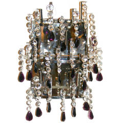 Set of 4 Crystal Sconces with Amethyst Drops