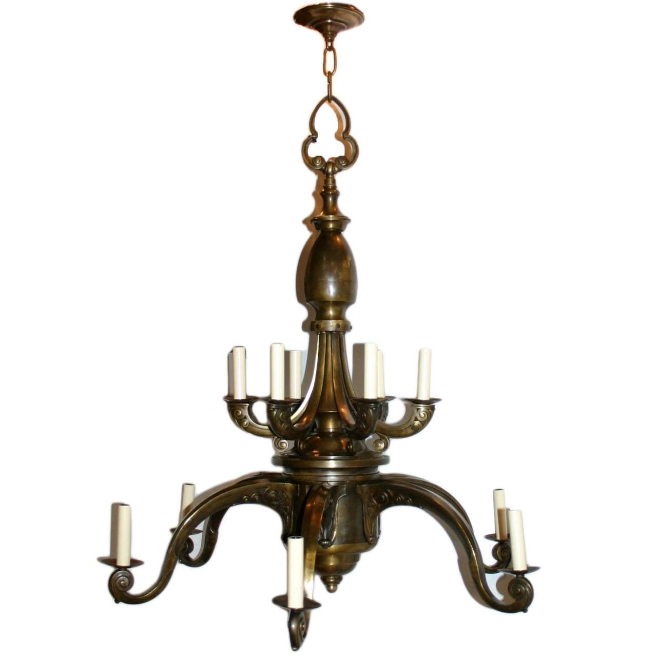 Art nouveau double tier chandelier for sale at 1stdibs for Chandelier art nouveau