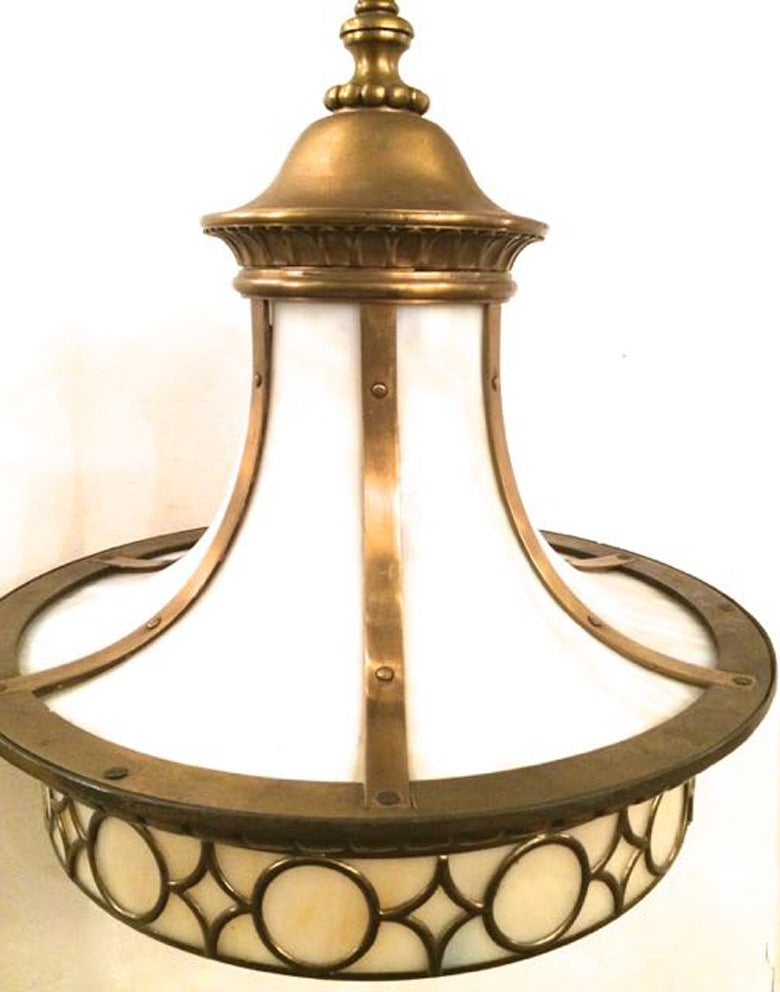 North American Leaded Glass Lantern Light Fixture For Sale