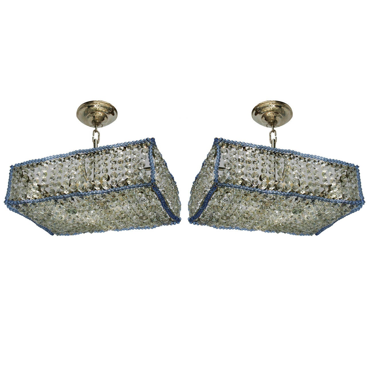 Pair Moderne Rectangular Crystal Fixtures For Sale At 1stdibs