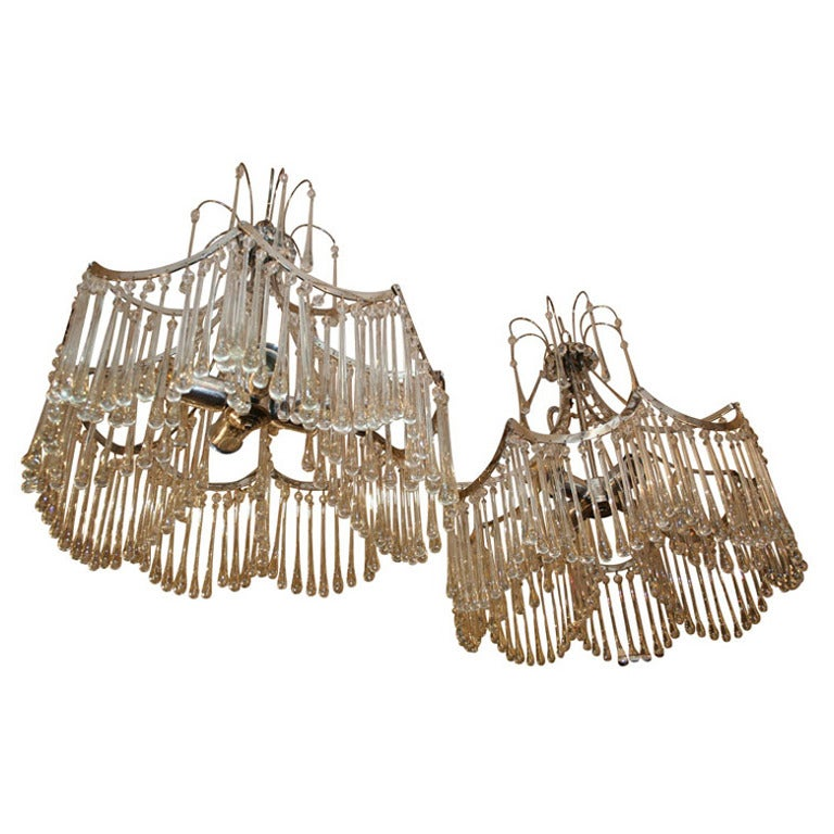 Pair of Glass Pendant Light Fixtures For Sale