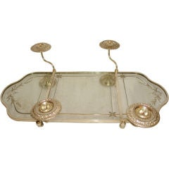 Silver Plated Mirror and Candle Holder Center Table Piece