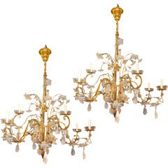 Pair of Large Gilt Metal & Rock Crystal Chandeliers