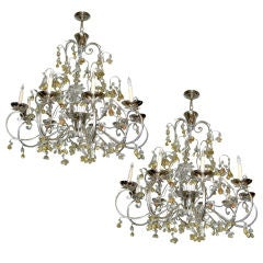 Pair of Silver Leaf Chandeliers with Glass Fruits