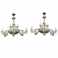 Pair of Shell and Coral Motif Silver Plated Chandeliers