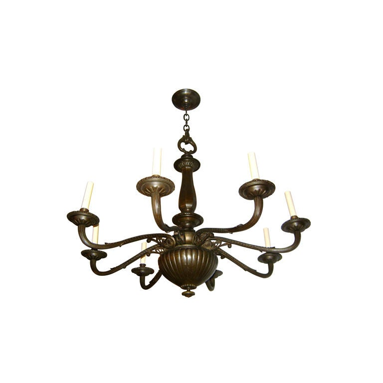 Neoclassic Bronze Chandelier For Sale