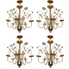Set of Four Gilt Metal and Molded Glass Chandeliers