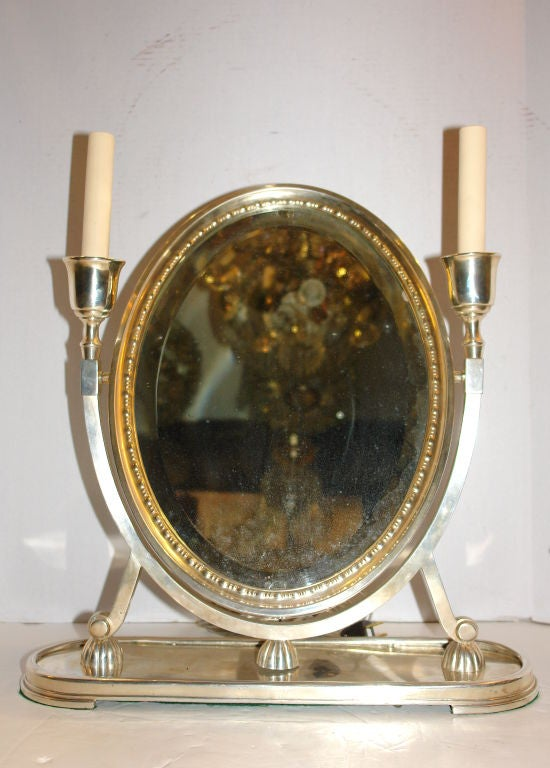 silver plated vanity mirror with lights for sale at 1stdibs. Black Bedroom Furniture Sets. Home Design Ideas