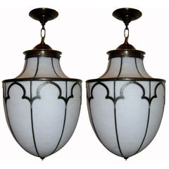 Pair of Leaded Glass Lanterns, Sold Individually