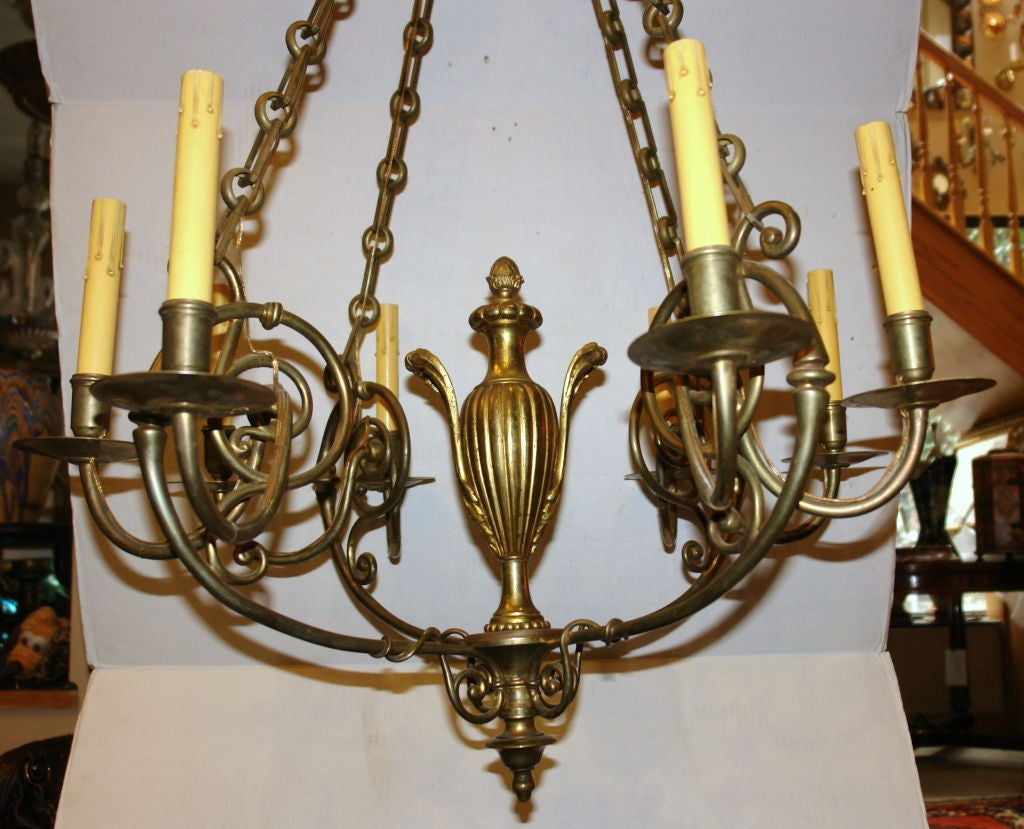 Bronze Neo Classic Style Chandelier For Sale at 1stdibs