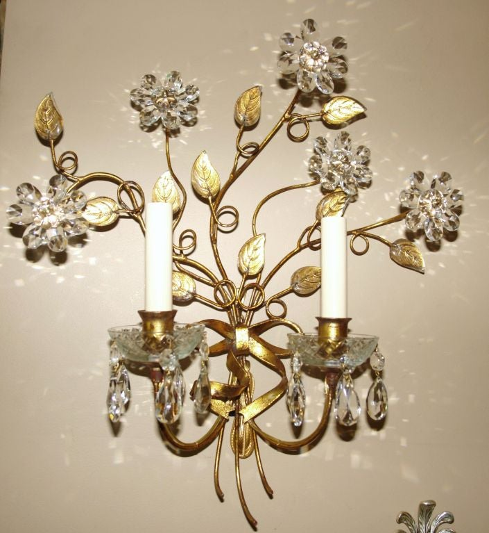 Wall Sconces With Plants : Set of 4 Sconces with Crystal Flowers at 1stdibs