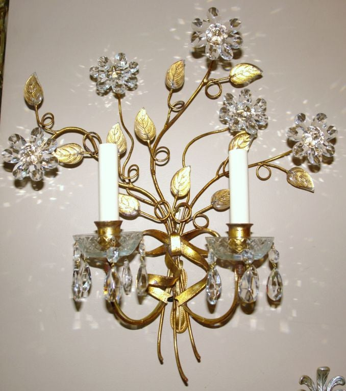 Wall Sconces With Flowers : Set of 4 Sconces with Crystal Flowers at 1stdibs