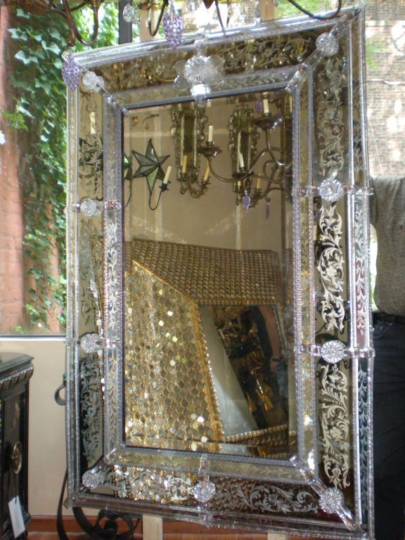 Large Venetian Glass Mirror For Sale At 1stdibs