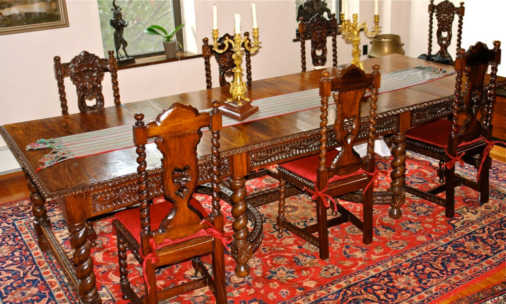 Large spanish dining table with 12 chairs at 1stdibs for 12 chair dining table set