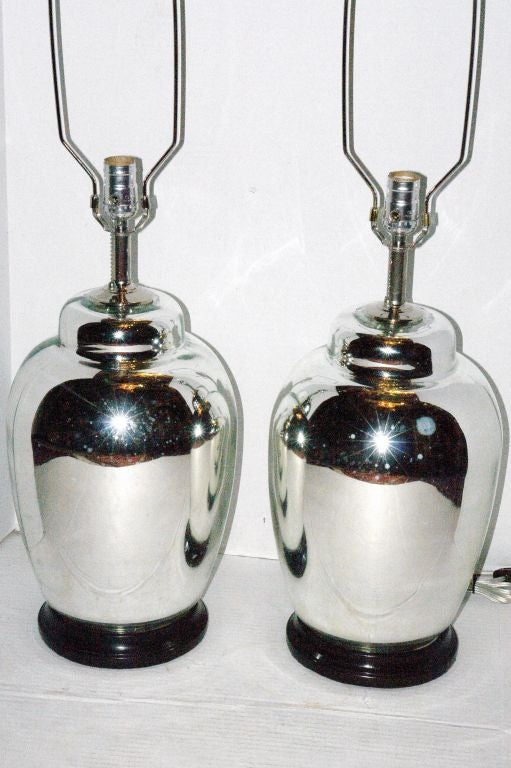 Pair Of Mercury Glass Table Lamps For Sale At 1stdibs