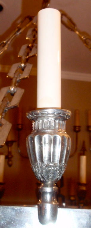 20th Century Silver Plated Chandelier For Sale