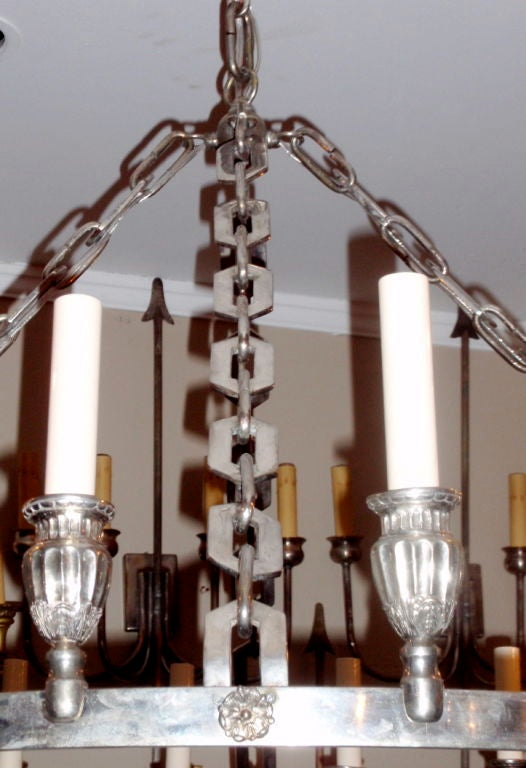 Silver Plated Chandelier For Sale 1